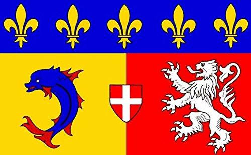 Rhone Alpes Flagge 5ft x 3ft groß–100% Polyester–Metall Ösen–doppelt genäht