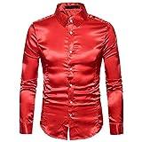TWBB Oberteile Herren, Mode beiläufig Revers Süßigkeitsfarbe Slim Langarm Shirt Top (XL, rot)