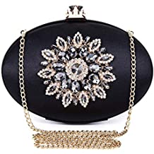 5312c74813 BAIGIO Pochette Donna Elegante Nera Clutch Cerimonia Vintage Borsetta da  Sera Borsa per Matrimonio Sposa Party