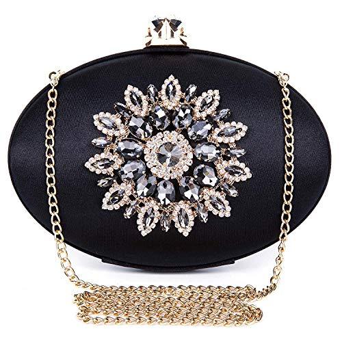 f849b3e47b462c BAIGIO Pochette Donna Elegante Nera Clutch Cerimonia Vintage Borsetta da  Sera Borsa per Matrimonio Sposa Party in Seta e Diamante