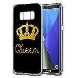 Samsung Galaxy S8 Hülle, YOEDGE Ultra Dünn Schutzhülle Silikon Schwarz mit Muster Queen King Krone Motiv Design Personalisiert Weich TPU Handyhülle Bumper Case Backcover für Samsung Galaxy S8 Smartphone (Queen, Schwarz-Gold)