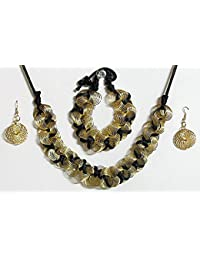 DollsofIndia Golden Wire With Black Cord Necklace With Bracelet And Earrings - Metal Wire (BR44-mod) - Black