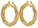 Vonchic, orecchini creola da donna, a cerchi grandi, con motivo a intreccio, di colore oro