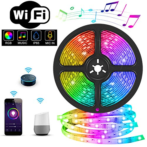 MIROCOO Led Strip 5M, WiFi RGB LED Streifen, IP65 Wasserdicht Led Band Sync mit Musik, LED Stripes 150 LEDs SMD5050 Steuerbar via App, Led Lichtband Kompatibel mit Google Assistant, Echo, IFTTT