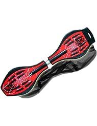 MAXOFIT  Pro XL - Waveboard con luces en las ruedas y funda (hasta 95 kg, 88 x 23 x 30 cm), multicolor spider red