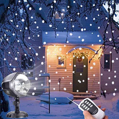 Proiettore Luci LED Natale DYDYLU Luce di Caduta Della Neve Romantico Fiocco di Neve Impermeabile Rotante Wireless Telecomando Lampada Natale Proiettore Luci