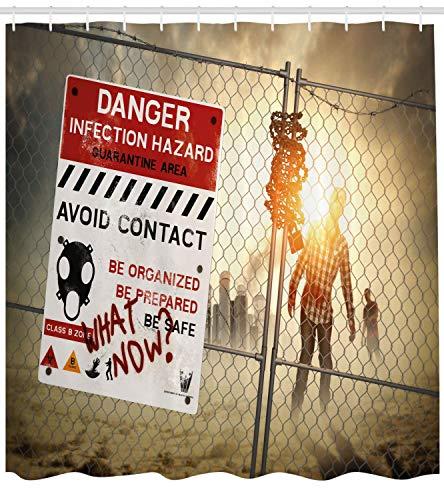 Zombie Dekor Duschvorhang Dead Man Walking Dark Danger Scary Scene Fiction Halloween-Infektion Bild Stoff Badezimmer Dekor Set mit Red Sepia (Walking Dead Zombie Halloween)