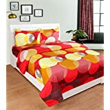 BSB Trendz 3D Printed Multicolour Cotton Double Bed Sheet With 2 Pillow Covers