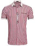 Burlady Trachtenhemd Herren Hemd Kariert Oktoberfest Cargohemd Baumwolle Freizeit Hemden Super Qualität- Gr. XL, Kurz-Winerot