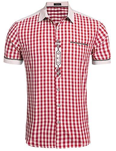 Burlady Trachtenhemd Herren Hemd Kariert Oktoberfest Cargohemd Baumwolle Freizeit Hemden Super Qualität- Gr. M, Kurz-Winerot