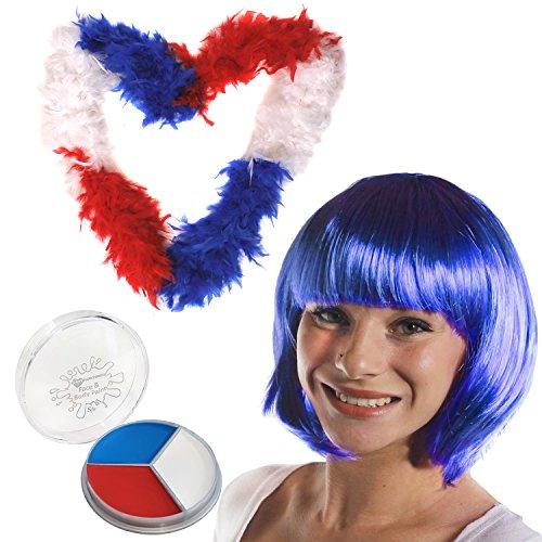 Kostüm National Für Frankreich Männer (ENGLISCH ODER FRANZÖSISCHES FARBEN SET= BEINHALTET EINE ROT/BLAU/WEISSE FEDEBOA-(65gr) + ROT/WEISS/BLAUE SCHMINKE + ROT/BLAU/WEISSE AFRO PERÜCKE ODER INE BLAUE BOB PERÜCKE = VON ILOVEFANCYDRESS®= DIESE SETS SIND SUPER ALS ZUBEHÖR)