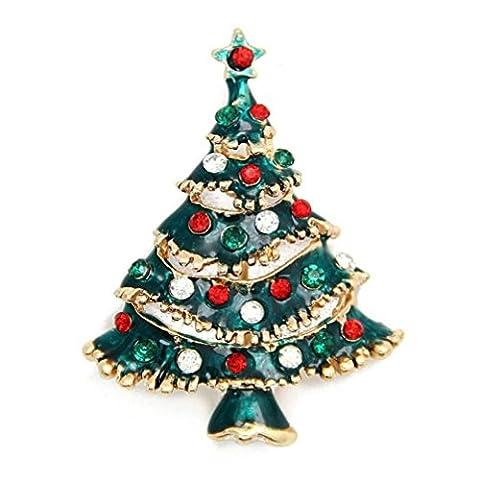 Brooches & Pins, Transer® 6Styles Mädchen Broschen Frauen Circle Flower Kristall Brosche Fashion interspersion für Weihnachten Geschenke/Geschenke (Weihnachtsbaum)