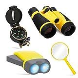COOKJOY Outdoor Kit für Kinder - Fernglas, Taschenlampe, Kompass, Lupe - Entdecker-Spielzeug für Draußen Spielen, Camping, Vogelbeobachtung, Natur Lernen - Pädagogisches Geschenk für Kinder