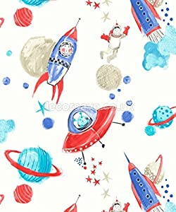 Arthouse Imagine Fun Starship White Wallpaper 668001 - Glitter Childrens Space by Arthouse from Arthouse Ltd