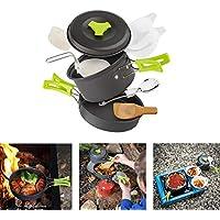 Cozywind Utensilios de Cocina para Camping para 1-2 Personas, Juego de Olla para Acampada y Senderismo, Portátil y Liviano para Cocinar al Aire Libre (0.5)