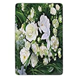 BagsPillow Bathroom Bath Rug Kitchen Floor Mat Carpet,Flower,Oil Painting Style View Field Impressionism Art Floral Meadow Bridal,Green Cream and White,Flannel Microfiber Non-Slip Soft Absorbent