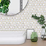 Koperras Autocollant Mural 3D, Style De Marbre Hexagonal Carrelage Mural Autocollant Chambre Cuisine Salon Mur Fond Autocollant Mural Panneau De Fond Auto-AdhéSif