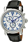 S.Coifman Men's Quartz Watch with White Dial Chronograph Display and Black Leather Strap SC0296