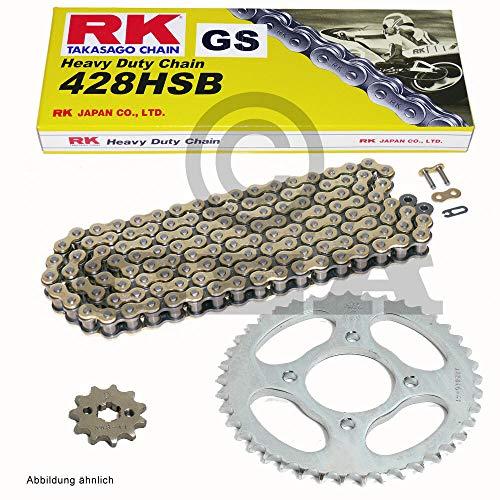 Chaîne Phrase Kreidler Super Moto 125 DD 08–14 pour freins à disque, RK GS 428 HSB 136, ouvert, doré, 15/51