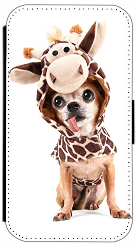 FioMi Flip Cover Hülle Samsung Galaxy S5 / S5 Neo Motiv 535 Hund mit Kostüm Chihuahua Dog Handy Tasche Etui Schutzhülle Flipcover Case Wallet Bookflip Buchflip (Design Held Kostüm)
