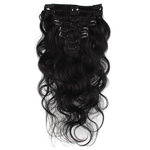 Beauty7 Extension de Cheveux a Clips Ondule Naturel Remy Humain Cheveux Boucle Body Wave 8 Pcs / Poids 120g 20inch (50cm ) Couleur Noir #1