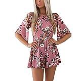 Tuta Donna Elegante Corti Estivi Jumpsuit Abbigliamento Dresses Maniche Corte Senza Schienale Stampati Fiori Casual Bohemian Spiaggia Tutine Monopezzi (Color : Pink, Size : S)