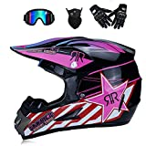 NOMEN Erwachsener Motocross Helm MX Motorradhelm ATV Scooter ATV Helm D.O.T Zertifizierter Rockstar Multicolor mit Brille Handschuhe Maske (S, M, L, XL),M