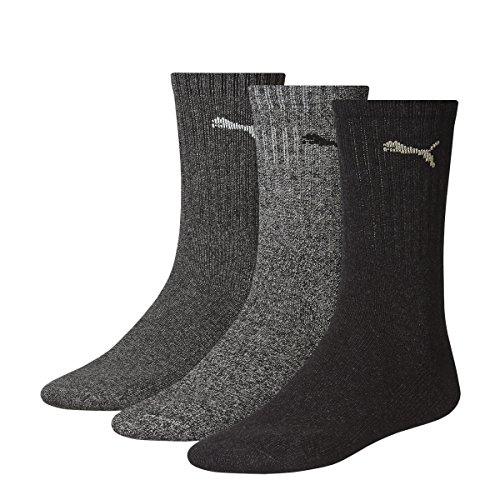 Puma Sports Socks - Calcetines de deporte para hombre, color gris, talla 43-46, 3 unidades