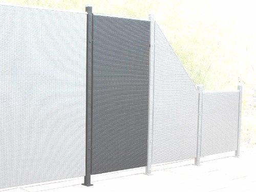 Prime Tech Poly-Rattan Sichtschutz / Zaun, Erweiterungselement 180x90 cm in anthrazit / grau