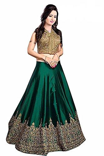 V.K.Creation Women's Cotton Silk Lehanga Choli(women for green colour lehenga choli Green...