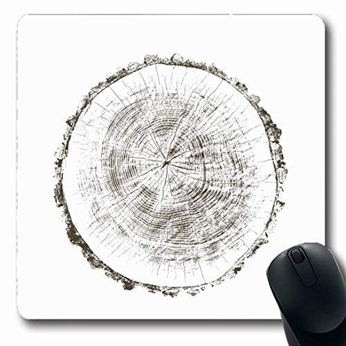 Luancrop Mousepads für Computer Braune Rinde Holz Querschnitt Baum Natur Natürlich Orange Eiche Block Birke Scheibe Weiß Design Energie Rutschfestes, längliches Gaming-Mauspad