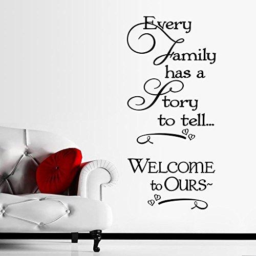 Rimovibile ogni famiglia ha una storia da raccontare Benvenuto al nostro frasi Citazione Arte murale adesivi da parete Decor in vinile carta da parati
