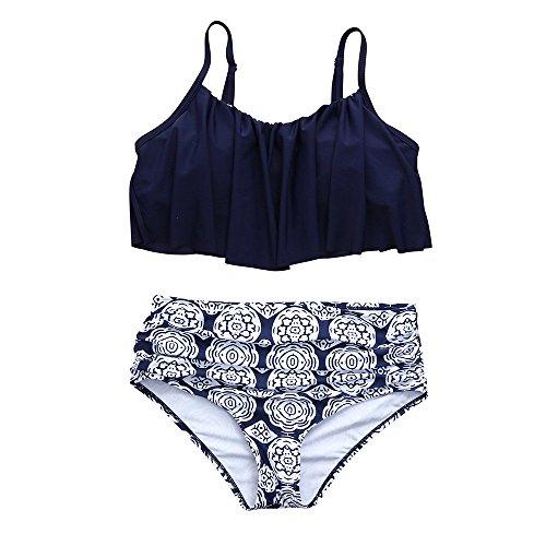 TOPKEAL Baden Badeanzug Damen Neckholder Bademode Push up Tankini Bandeau mit Bikini Triangl (Blau, Small)