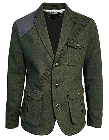 Debenhams Method London Mens Wool 3 Pockets Vintage Herringbone Green Tweed Fabric Patchwork Single Breasted Danish Style Long Sleeve Jacket/Coat Available in 5