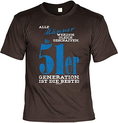 Alle Männer werden gleich geschaffen Die 51er Generation ist die Beste! Geburtstags-Jahrgangs-Shirt Fun-Shirt Braun
