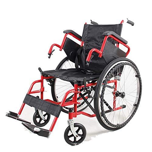 QZPM Multifunktionsrollstuhl aus Karbonstahl Leichter, zusammenklappbarer Rollstuhl mit roter Lackierung und anhebbarer Armlehne Abnehmbare Beinstütze, tragbarer Transportreisestuhl