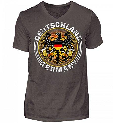Shirtee Hochwertiges Herren V-Neck Shirt - German Bier Adler - Das Lustige Geschenk für Bier-Fans - Original Tees-Paradise® Grau