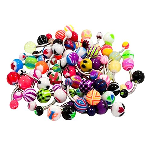 Contever® 50 pz Colorato Mix Piercing da Ombelico Belly Bar in 316L Acciaio Inossidabile