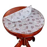 Pvc Transparent Tablecloth Round Lattice Soft Glass Plastic Waterproof Anti-Skalding Oil Crystal Coffee Table Mat,120CM