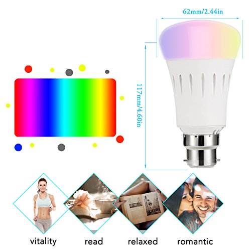 LOHAS-WIFI-A60-Colour-LED-Smart-Bulb-Works-with-Amazon-Alexa-Colour-Changing-Emit-Any-Hue-in-the-Rainbow-and-Tuneable-White-Lights-60W-Equivalent-Controlled-by-a-Smartphone-1-Pack