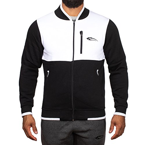 SMILODOX Herren College Jacke Trait, Farbe:Schwarz/Weiß, Größe:XL