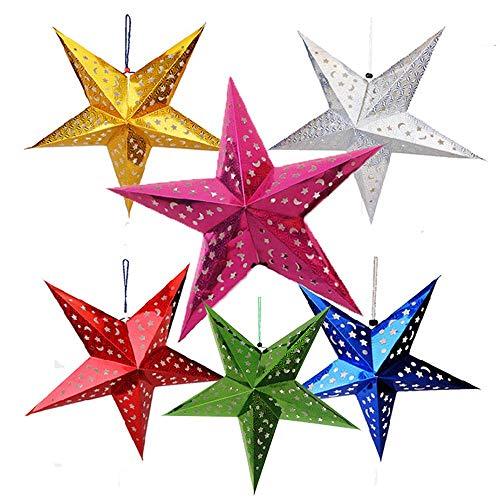 Anjing Papierstern-Lampenschirm, 6 Stück, 3D-Papierstern, Pentagramm-Lampenschirm, für Weihnachten, Hochzeit, Party, Zuhause, Hängedekorationen -