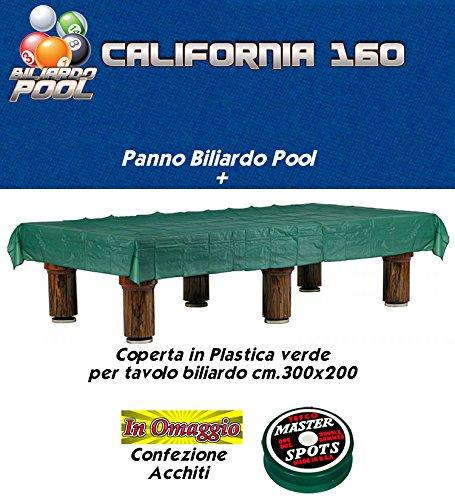 Panno biliardo pool Renzi Line by Longoni California cm.340x160, blu per piano e sponde biliardo pool 9 piedi, con buche, campo da gioco cm.254x127, ardesia cm.272x145,con coperta per tavolo cm.300x200 e