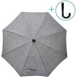 Luchild Ombrelle Poussette Bebe Universelle Anti UV Diamètre 73cm avec Une Poignée Parapluie (Denim Gris)