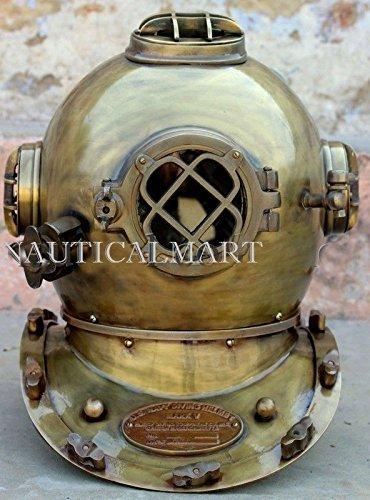 NAUTICAL MART Nautisches Mart Antik Taucher Tauchen Helm US Navy Mark V Deep Sea Marine Taucher 45,7cm