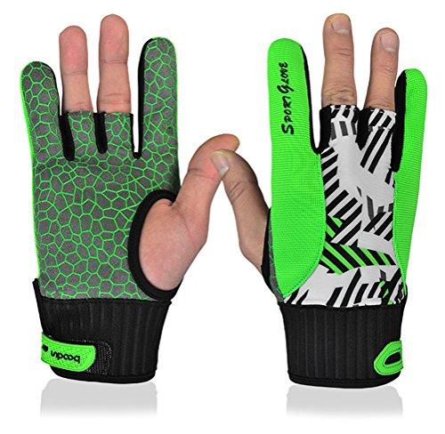 Bowling Handschuhe Rechts Links Hand Handgelenk Unterstützung Handschuhe mit Silikon Anti-Rutsch für Sports Fitness Gym, grün, Large