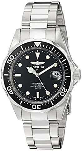 Invicta Unisex Pro Diver Quartz Watch with Black Dial Analogue Display and Silver Stainless Steel Bracelet