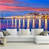Qqasd Personalizzato 3D grande murale, cielo colorato, scintillante casa in Spagna, una bella costa, soggiorno divano TV parete camera da letto carta da parati-300X210CM