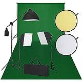 Kit studio 3 lampes daylight + softbox, fond vert & écran réfléchissant