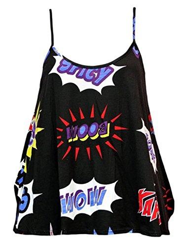 Fashion Essentials-Womens Wetlook Multi Print Riemchen Cami Weste Bra Crop Top Swing BOOM